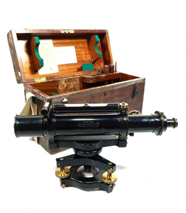 Antique Surveyor's Theodolite T Cooke's Reversible Level Boxed & Wooden Tripod
